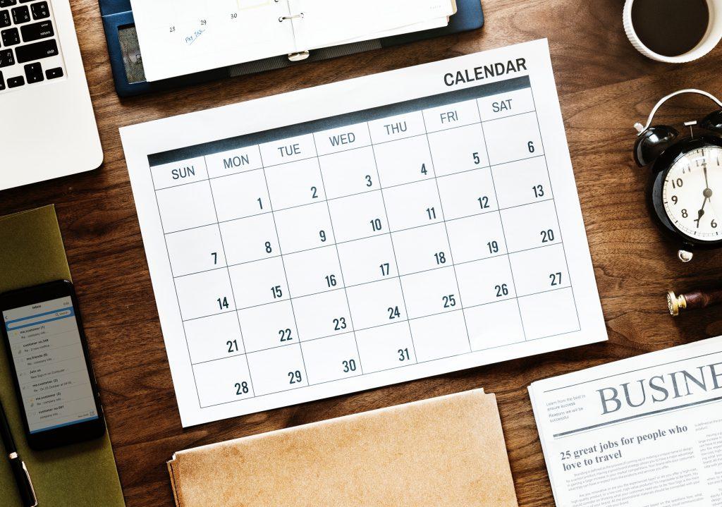 2019 year planner on desk